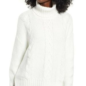 BP. White cozy cable knit turtleneck sweater white